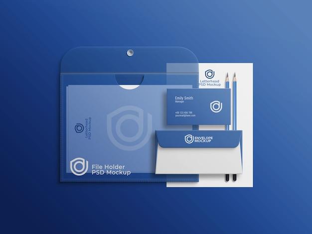 Enveloppe et carte de visite sur porte-fichier aquarelle avec en-tête