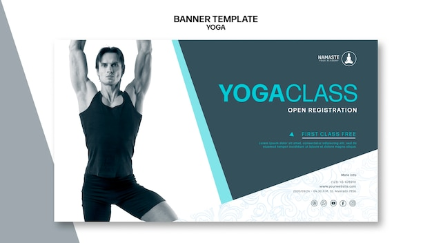 Équilibrez votre modèle de bannière de cours de yoga