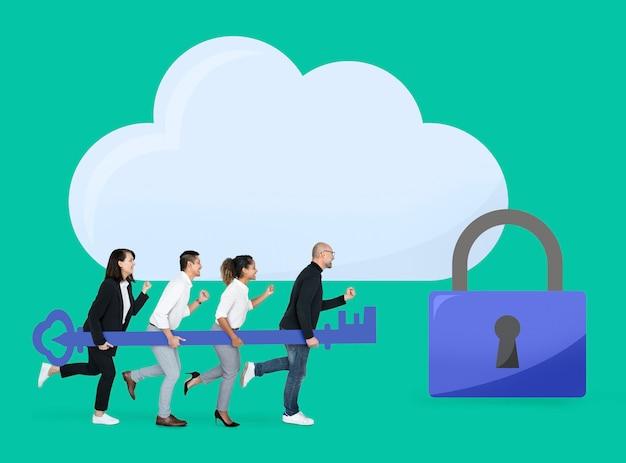 Équipe commerciale avec sécurité internet