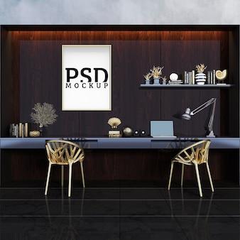 Espace d'étude impressionnant avec des objets en métal plaqué or et un cadre photo