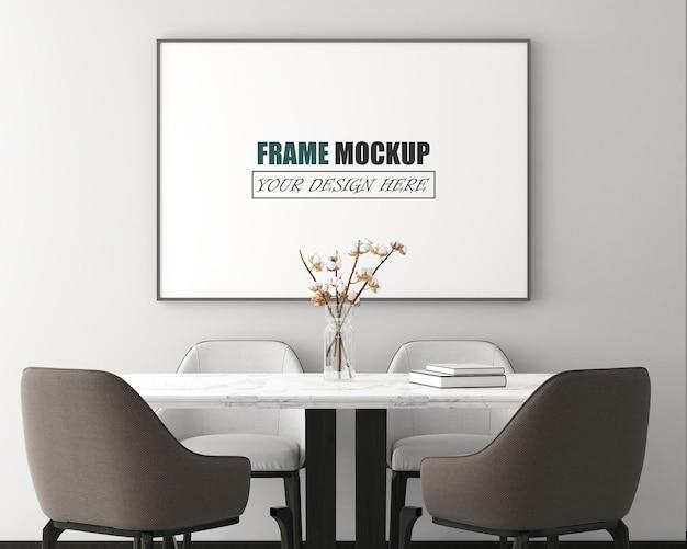 Espace salle à manger avec maquette de cadre de meuble moderne