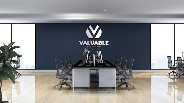 Espace de travail de bureau de signe réaliste de maquette de logo de mur 3d
