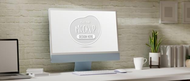 Espace de travail confortable de rendu 3d avec maquette d'ordinateur