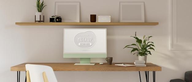 Espace de travail à domicile avec bureau d'ordinateur décoré de plantes et de meubles en bois