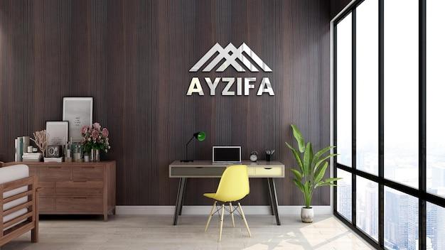 Espace de travail de maquette de logo avec mur en bois