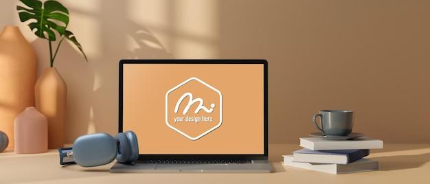 Espace de travail minimal de rendu 3d avec ordinateur portable maquette
