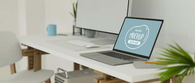 Espace de travail avec ordinateur portable, papeterie sur le bureau et étagère sur le mur du loft, espace de copie, rendu 3d, illustration 3d