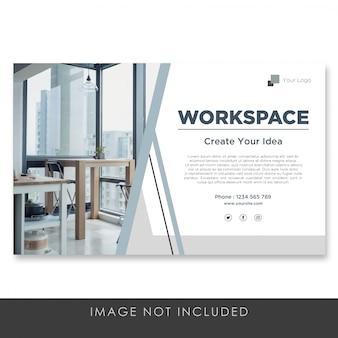 Espace de travail de page de destination de bannière avec un modèle de conception propre