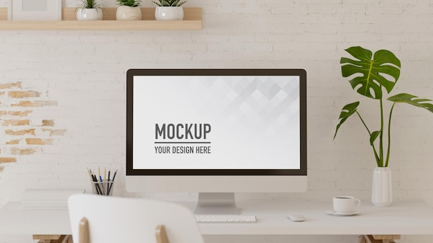 Espace de travail de rendu 3d avec papeterie informatique et pot de fleurs dans la salle de bureau à domicile