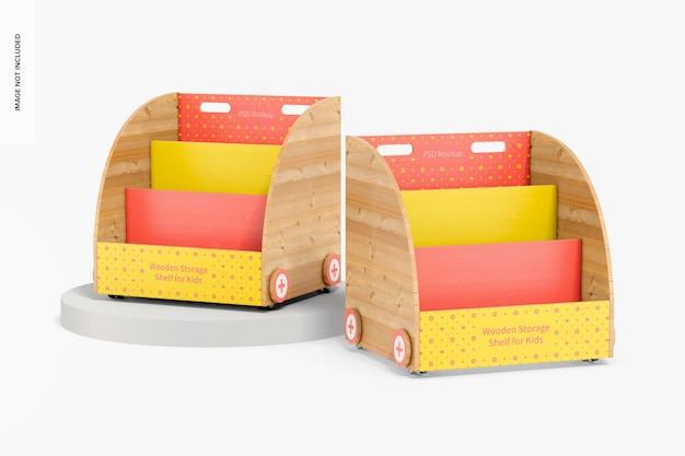 Étagères de rangement en bois pour maquette d'enfants, perspective