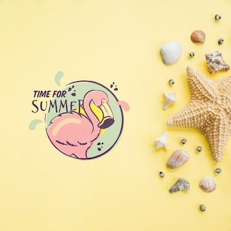 Été lettrage fond avec éléments de l'été