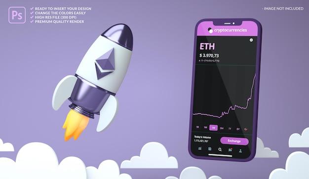 Ethereum eth crypto-monnaie haussière dans une maquette d'écran de fusée et de téléphone en rendu 3d