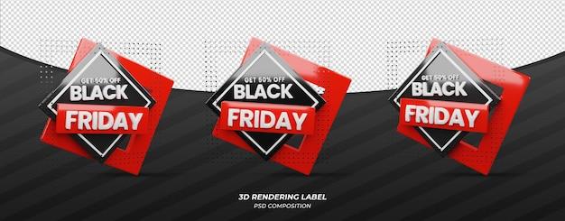 Étiquette 3d du vendredi noir