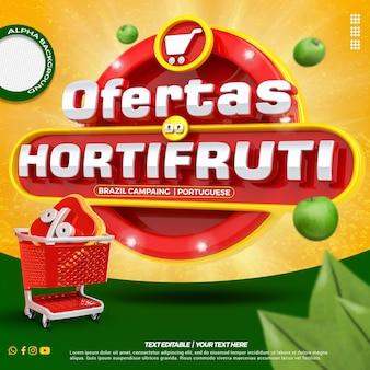 Étiquette 3d de médias sociaux à gauche offres avec campagne de composition de panier d'achat du brésil