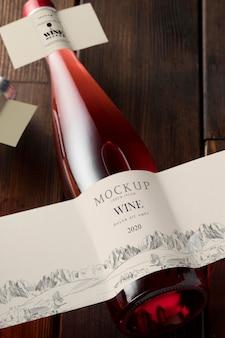 Étiquette de bouteille de vin maquette vue de dessus