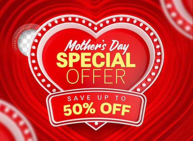 Étiquette coeur lumière offre spéciale fête des mères 3d render