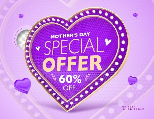 Étiquette de coeur offre spéciale fête des mères avec des lumières de rendu 3d
