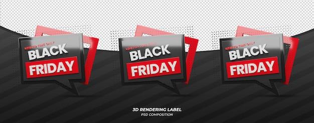 Étiquette de couleur rouge vendredi noir 3d