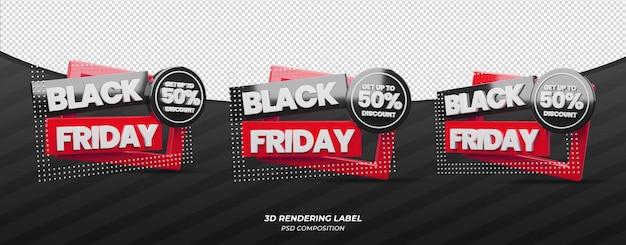 Étiquette de remise de couleur rouge vendredi noir 3d