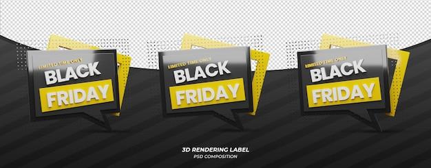 Étiquette de rendu 3d vendredi noir