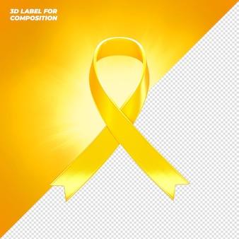 Étiquette de ruban jaune rendu 3d pour la composition