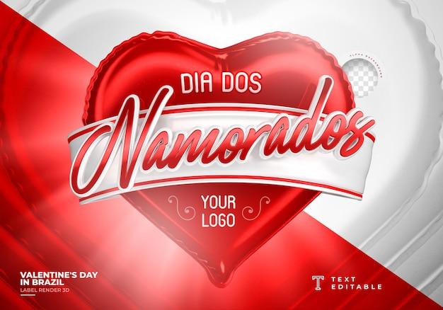 Étiquette saint valentin au brésil conception de modèle de rendu 3d