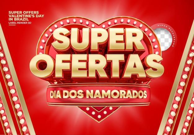 Étiquette saint valentin au brésil super offre un rendu 3d
