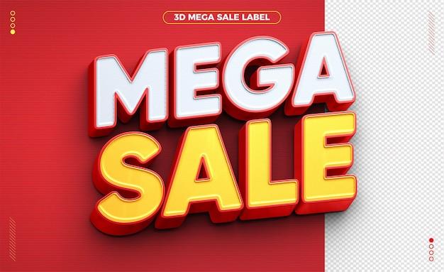 Étiquette de vente mega 3d pour la composition