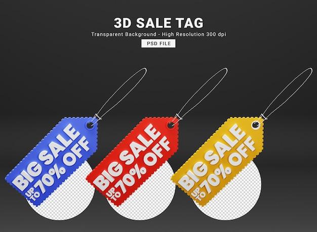 Étiquette de vente rendu 3d premium psd