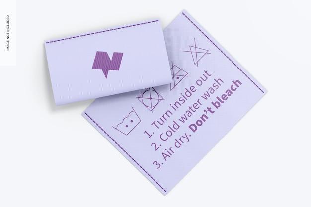 Étiquette de vêtements horizontale sur la maquette de t-shirt, vue de dessus