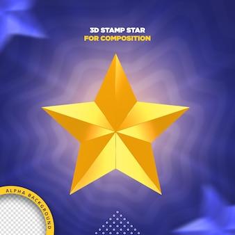Étoile de timbre 3d