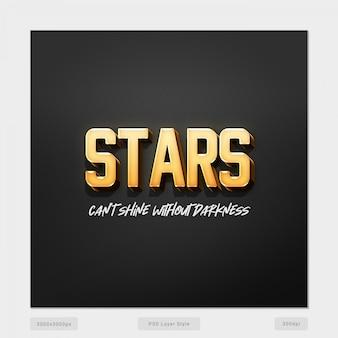 Les étoiles ne peuvent pas briller sans l'obscurité effet de style de texte 3d psd