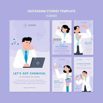 Étudier le modèle d'histoires instagram de chimie