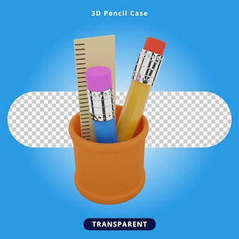 Étui à crayons de rendu 3d illustration