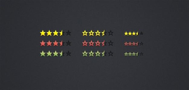 Évaluation avec les étoiles colorées psd