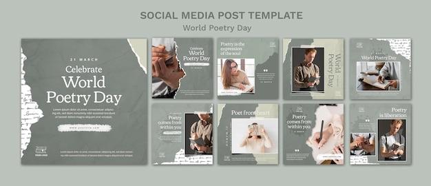 Événement De La Journée Mondiale De La Poésie Instagram Posts PSD Premium