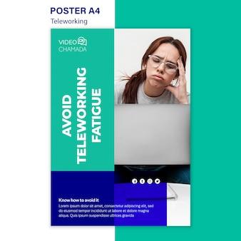 Évitez le modèle d'affiche sur la fatigue du télétravail