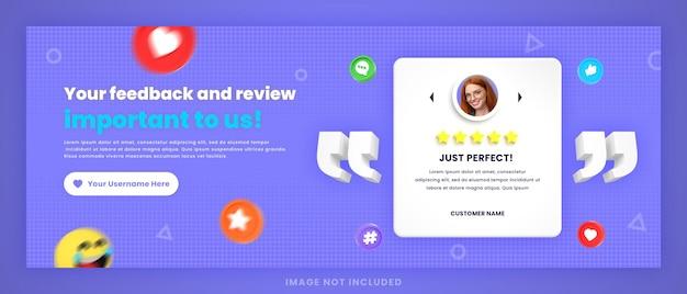 Examen des commentaires des clients en 3d ou modèle de publication de couverture facebook de témoignages sur les médias sociaux avec maquette