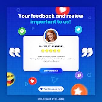 Examen des commentaires des clients en 3d ou modèle de publication instagram de témoignages sur les réseaux sociaux avec maquette