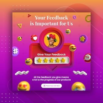 Examen Des Commentaires Du Concept Créatif Et Classement Par étoiles Pour Le Modèle Instagram De Publication De Médias Sociaux PSD Premium