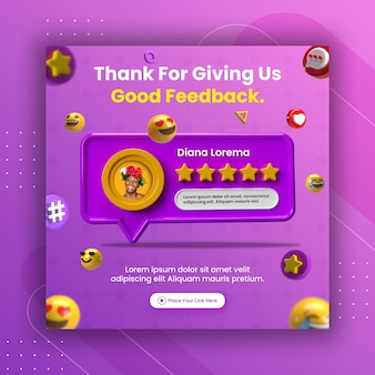 Examen des commentaires du concept créatif et classement par étoiles pour le modèle instagram de publication de médias sociaux