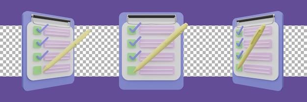 Examen de test de questionnaire pour faire la liste des notes icône 3d