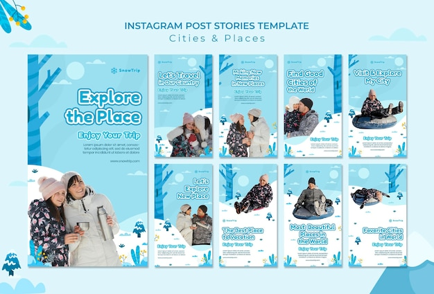 Explorer de nouveaux endroits histoires de médias sociaux