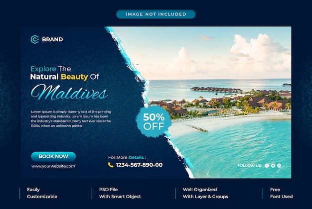 Explorez la bannière web promotionnelle de l'agence de voyage des maldives ou le modèle de bannière de médias sociaux