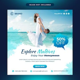 Explorez les médias sociaux et le modèle de bannière web de l'agence de voyage des maldives