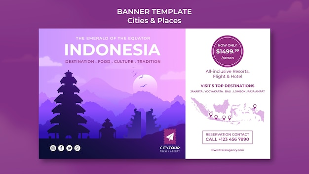 Explorez le modèle de bannière horizontale indonésie