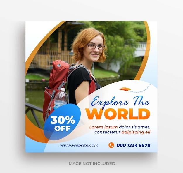 Explorez le modèle de poste ou de flyer carré de la bannière mondiale