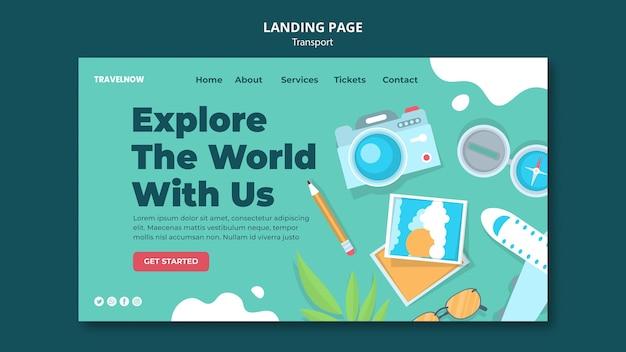 Explorez la page de destination du monde