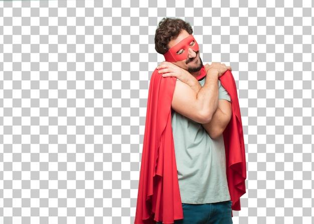 Expression de satisfaction jeune homme fou de super-héros