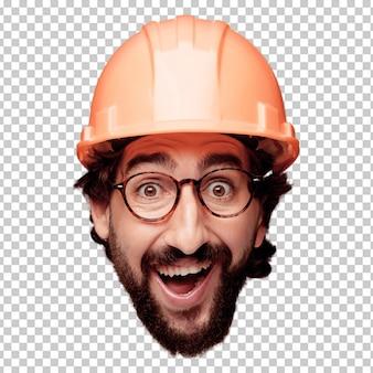 Expression de tête de jeune homme fou barbu isolé. rôle d'architecte. pose heureuse